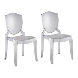 Polycarbonate Crystal Clear Chair - Although technically acrylic, these are much more functional than their glass equivalents.