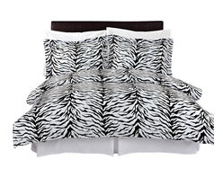 Bed Linens - Zebra 100% Egyptian cotton Duvet cover set, King-California King - Colors include black and white.