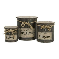 Magdaline Inspiration Boxes - Set of 3 - This set of three wood boxes feature rope, fabric and metal key ornaments for a vintage look.