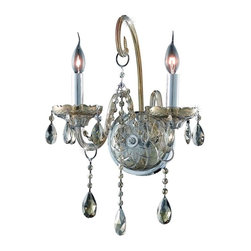 Elegant - Verona Golden Teak Swarovski Elements Wall Sconce Chandelier - Inspired by the elegant English chandeliers of the Eighteenth century, the allure of our Verona Collection captures the look of pure luxury. Cut-crystal center columns and bobeches accent the drape.