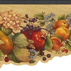 York Wallcoverings - Green Fruit and Flowers Wallpaper Border - Wallpaper borders bring color, character and detail to a room with exciting new look for your walls - easier and quicker then ever.