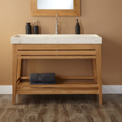 "48"" Aurelia Teak Trough Sink Vanity - Boasting a modern, open design, the Aurelia Teak Vanity features a spacious trough sink that's made of beautiful marble. Set atop tapered legs, this striking bathroom vanity has a slatted front and a shelf beneath for stowing toiletries and towels."