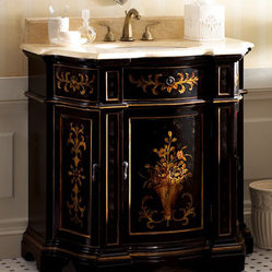 "Ambella - Ambella Ebony Floral Chest w/ Sink - A bouquet of hand-painted golden accents adorns the front of this ebony chest while the cream marble counter and sink add great contrast. Crafted of hardwood with three doors. 35""W x 21.5""D x 36""T. Imported. Brass faucet sold separately; professional in..."