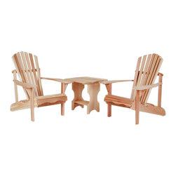 All Things Cedar - All Things Cedar ST24U-Set 3pc. Side Table Adirondack Set - This set includes 2 AA21U Adirondack Chairs + 1 ST24U Adirondack Side Table    Dimensions: (39 x 32 x 38) (21 x 21 x 21 ) in. (w x d x h)