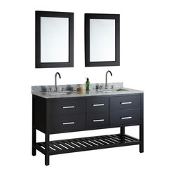 "DESIGN ELEMENT - London 61"" Double Sink Vanity Set, Espresso - The London 61"" Double Sink Vanity Set is constructed with quality woods and provides a contemporary design perfect for any bathroom remodel. The ample storage in this free-standing vanity set includes two flip-down shelves, four fully functional drawers each accented with brushed nickel hardware as well as an open shelf at the base of the cabinet. The cabinet is available in an espresso or white finish both as a complete set with a carrara white marble counter top and two matching framed mirrors."