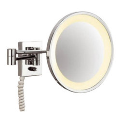 """Decor Walther - Decor Walther BS 45 Cosmetic Mirror - The BS 45 cosmetic mirror has been designed and made by Decor Walther.     The BS 45 cosmetic mirror of Decor Walther is a well-crafted   processed  item for upscale bathroom. By the noble chrome surface of the   vanity  mirror looks very valued and make applying makeup, shaving and   other  activities easier and more enjoyable. The BS 45 available in  a  3-fold and 5-fold magnification also equipped with swivelling spiral cable,  plug  and socket.  Product Details:  The BS 45 cosmetic mirror has been designed and made by Decor Walther.     The BS 45 cosmetic mirror of Decor Walther is a well-crafted   processed  item for upscale bathroom. By the noble chrome surface of the   vanity  mirror looks very valued and make applying makeup, shaving and   other  activities easier and more enjoyable. The BS 45 available in  a  3-fold and 5-fold magnification also equipped with swivelling spiral cable,  plug  and socket.  Details:                                      Manufacturer:                                      Decor Walther                                                                  Designer:                                     In House Design                                                                  Made in:                                     Germany                                                                  Dimensions:                                      Diameter: 10.24"""" (26 cm), Height: 4.53"""" (11.5 cm ) X Depth: 0.79"""" (2 cm) X Width: 3.74"""" (9.5 cm)                                                                  Light bulb:                                      3 x E14 Max 15W                                                                  Material:                                      Metal"""