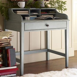 """Jacqueline Bedside Secretary Desk Blue - This multitasking piece is perfect for small spaces, combining the functions of a nightstand and writing desk. The weathered finish is applied in layers for depth, and pairs beautifully with wood, metal or upholstered beds. 35.5"""" wide x 23"""" deep x 37"""" high Equipped with storage cubbies, a writing area and a spacious flip-down keyboard tray drawer with an antique-bronze metal pull. Blue-grey finish applied by hand using our exclusive multistep technique for exceptional depth of color. Simple assembly. View our {{link path='pages/popups/fb-bedroom.html' class='popup' width='480' height='300'}}Furniture Brochure{{/link}}. Catalog / Internet Only."""