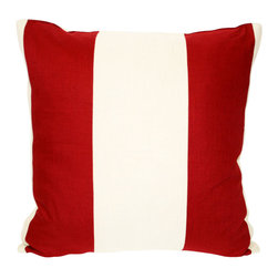 Acapillow - Pieced Stripe Pillow - This pillow's bold red and white stripe is pieced together from vintage and contemporary fabrics. Use it to punch up a solid or small print couch or bed.