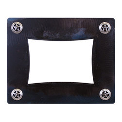 Ironwood - Rustic Iron Picture Frame Texas Star 8x10 with Blackened Iron Patina - This  beautiful  rustic  frame  features  an  iron  frame  base  with  a  blackened  iron  patina.  Embellished  with  silver  Texas  Stars  in  each  corner,  it  is  one  of  our  customer  favorites.  We  sell  iron  picture  frames  in  several  different  styles.