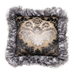 Brandi Renee Designs - Black Flock Medallion Pillow with Pewter Ruffle Trim - The words 'elegant' and 'sophisticated' don't do this fabulous pillow justice. From the plush polyfill insert to the ornate design, it's a total gem!  The front features a lovely metallic floral print in black, tan, and cream. You'll find a smooth velvet backing in light grey. The regal print is bordered by a pewter ruffle trim.