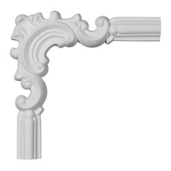 """Ekena Millwork - 9 3/4""""W x 9 3/4""""H Ashford Panel Moulding Corner - 9 3/4""""W x 9 3/4""""H Ashford Panel Moulding Corner. Our beautiful panel moulding and corners add a decorative, historic, feel to walls, ceilings, and furniture pieces. They are made from a high density urethane which gives each piece the unique details that mimic that of traditional plaster and wood designs, but at a fraction of the weight. This means a simple and easy installation for you. The best part is you can make your own shapes and sizes by simply cutting the moulding piece down to size, and then butting them up to the decorative corners. These are also commonly used for an inexpensive wainscot look."""