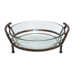Benzara - Glass Bowl with Metal Stand - Glass Bowl with Metal Stand. This is an unique and very stylish way to add zing to your home decor. This glass bowl with metal stand is not only unique but can serve multiple uses. Some assembly may be required.