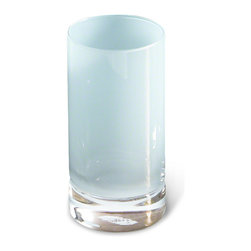 Kathy Kuo Home - Vistula Global Bazaar Blue Highball Glasses - Set of 4 - Hand blown, cased Polish glass is sculpted into sleek, modern glasses and finished in frosted opaline blue. The tall, slim size is perfect for fresh-squeezed lemonade with lunch or refreshing iced tea on a summer afternoon.