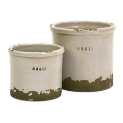 Basil Herb Pots - Set of 2 - Perfectly sized, this set of two basil herb pots is made of red clay and kiln fired to perfection. Finished in a white crackle glaze, rough edges are purposely exposed to add character.