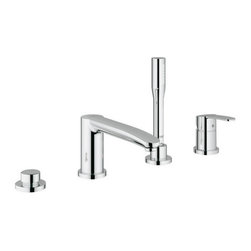 """Grohe - Grohe 23048002 Starlight Chrome Eurostyle Cosmopolitan Eurostyle - Eurostyle Cosmopolitan Single Handle Roman Tub Filler Faucet with Personal Hand Shower Utilizing an astute mix of simple curves and flowing forms, Eurostyle Cosmopolitan offers a unique design proposal for the modern bathroom. The distinctive keyhole-shaped lever handle is pitched at the inviting angle of seven degrees on the lavatory centerset. This subtle incline enhances the user experience and facilitates interaction.  Features the smooth, precise action of Grohe Silkmove ceramic technology for lifelong, effortless water control Grohe Starlight technology creates a deep, luxurious chrome finish that is soil repellant, scratch resistant and non-tarnishing. Single Lever Control 27 400 Hand Shower 8 11/16"""" Spout Flexible stainless steel braided hoses connect all components and valves to supply. Flow rate: 6.3 gpm (2.5 gpm hand shower)"""