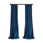 """Exclusive Fabrics & Furnishings, LLC - Azul Faux Silk Taffeta Curtain - 56% Nylon & 44% Polyester. 3"""" Pole Pocket with Hook Belt. Lined. Interlined. Imported. Weighted Hem. Dry Clean Only. SOLD PER PANEL."""