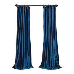 "Exclusive Fabrics & Furnishings, LLC - Azul Faux Silk Taffeta Curtain - 56% Nylon & 44% Polyester. 3"" Pole Pocket with Hook Belt. Lined. Interlined. Imported. Weighted Hem. Dry Clean Only. SOLD PER PANEL."