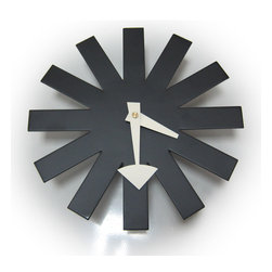 Kardiel George Nelson Asterisk Clock, Black - Whimsical meets retro modern design, the year is 1950 and George Nelson's Asterisk Clocks are born. Contrasting oversized hands and a blank clock face with no numbers are intentionally bold design statements of the timepiece. Big bold and unmistakably floating, the Asterisk has been giving walls and rooms a dramatic accent of mid century modernism for 60 plus years. Get your very own iconic reproduction inspired by the 1950 original at significant savings.