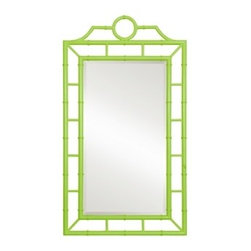 Bungalow 5 Chloe Green Mirror - Chinoiserie and spring green are perfect together. I would add this to a foyer that has predominantly muted tones as a pop of life and a reminder to smile as you walk out the door.