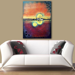 """Abstract Art for Contemporary and Eclectic Spaces - """"Live Out Loud"""" - Abstract painting with vibrant colors, high texture, and found objects."""