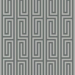 Casart coverings - Libby Langdon Collection - Mini Maze - Silver Gray/ Soft Charcoal Mini Maze from the Libby Langdon Collection for Casart removable wallcoverings