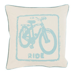 """Surya - Surya BKB-015 Pillow, 20"""" x 20"""", Down Feather Filler - Let your space ride away in striking style with the inclusion of this perfect pillow. Hand made in India of 100% cotton, the bold bike image and flawless color palette, this exquisite piece effortlessly embodies a unique sense of trend worthy design from room to room within any home decor."""