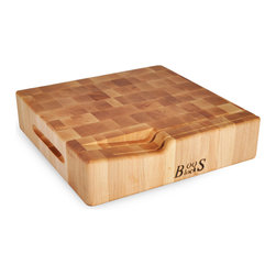 John Boos - 3-Inch-Thick Reversible Chopping Block with Slotted Knife Holder - Gorgeous, 3-inch thick Boos chopping block with convenient slots for holding knives. Grooves in sides serve as handles for flipping this reversible board.