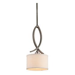 Kichler - Kichler 42484OZ Leighton Single-Bulb Indoor Pendant w/Drum-Shaped Fabric Shade - Kichler 42484 Leighton Mini Pendant