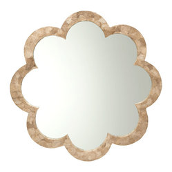 KOUBOO - Flower Capiz Seashell Wall Mirror - Gaze at natural inspired beauty, every time you look in this floral shaped mirror on your wall. The daisy cut to the stunning seashell frame is simply lovely, especially in the golden hue of the capiz shells. This gorgeous mirror will be the height of elegance in your foyer, vanity area or bathroom.