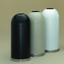 """Witt - 15 Gallon Metal Series OpenTop Trash Can - A design classic, the Witt Dome-Top has withstood the test of time. This popular receptacle features a strong steel shell, a self-closing door that effectively controls odor and a distinctive, stainless steel bottom edge, rolled under to protect floors. Witt also offers the exclusive Open Top receptacle for hands-off, sanitary waste disposal. These receptacles are a safe, practical choice for medical facilities, restaurants, and lavatories. ADA and OSHA compliant, all models feature galvanized steel liners. Features: -Strong steel shell. -Self-closing door effectively controls odor. -Distinctive stainless steel bottom edge is rolled under to protect floors. -Galvanized liner. -ADA and OSHA Compliant. -Overall Dimensions: 35"""" H x 15"""" W. -UL Listed. -Made in the USA."""