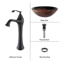 Kraus - Kraus C-GV-710-12mm-15000ORB Lava Glass Vessel Sink and Ventus Faucet - Add a touch of elegance to your bathroom with a glass sink combo from Kraus
