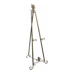 Zeckos - Pineapple Accent Art Display Easel Antique Brass Finish 60 In. - This large metal art display easel has an antique brass finish that is sure to complement most any decor. It measures 60 inches tall, 22 1/2 inches wide at the bottom, 26 inches deep, and has 3 inch deep display holders that can be set 12 inches, 18.5 inches, or 26 inches from the ground. This decorative easel is great for displaying signs, photos, and artwork in homes, offices and art galleries. It assembles in moments, with no tools required.