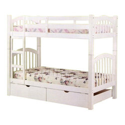"Acme - Heartland White Finish Wood Twin Over Twin Bunk Bed Set with Slide Out Drawers - Heartland White Finish Wood Twin Over Twin Bunk Bed Set with Slide Out Drawers. Measures 81"" x 43"" x 67""H. Some assembly required."