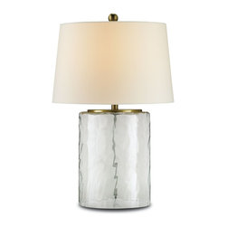 Currey and Company - Currey and Company 6197 Oscar Contemporary Table Lamp - With it's modern shape the Oscar Table Lamp blends contemporary style with a coastal inspired feel. The glass is recycled and the accents are a beautiful brass color. Includes an off white shantung shade.