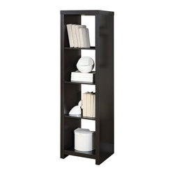 Monarch Specialties - Monarch Specialties 63 Inch Room Divider Bookcase in Cappuccino - This cool contemporary bookcase will make a bold addition to your home office or living room. The unique asymmetrical step style of this cube shelving unit features clean sharp lines, in a rich dark finish that will really make a statement. Add books, pictures, and decorative accent items on the top of the piece and on its four shelves for a one-of-a-kind look with real personality. This open bookcase is the perfect choice for your contemporary home. What's included: Bookcase (1).