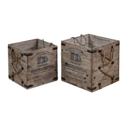 None - Bouchard Rustic Wood Crates (Set of 2) - These lightly stained crates are composed of solid fir wood with wrought iron metal and hemp rope details. The lovely crates were designed by Grace Feyock.
