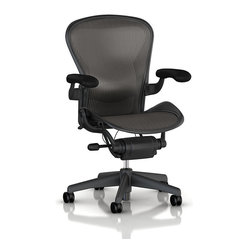 "Herman Miller - Aeron Chair with adjustable lumbar support | Smart Furniture - Get to working in this one-of-a-kind chair. Known as the ""dot.com"" chair, this chair is the godfather of the ergonomic office chair revolution. With its form, supportive with adjustable lumbar support, you can't help but start inventing new ideas."