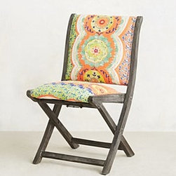 """Anthropologie - Suzani Terai Folding Chair - Intended for indoor use. Cotton voile upholstery; polyfill. Webbed seat construction. Rosewood frame. Grey washed finish. Wipe with dry cloth. Imported. Overall: 32.5""""H, 16""""W, 16.5""""D. Seat: 17""""H. Back: 15.5''H"""