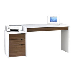 Nexera - Nexera Liber-T Computer Desk with Filing Cabinet - White and Espresso Dark Brown - Shop for Desks from Hayneedle.com! Whoever said desk jobs were boring clearly hasn't seen the Nexera Liber-T Computer Desk with Filing Cabinet - White and Espresso. It's constructed of engineered wood and finished in a white and espresso melamine coat that resists scratching and is easy to clean. The extra-big desk surface is fully reversible for easy placement in any room while the filing cabinet features one legal-size file drawer and two storage drawers all with sturdy metal drawer guides. Filing cabinet alone measures 18.87W x 19.75D x 24.5H inches.About NexeraNexera whose name is a combination of the words next era is a Canadian manufacturer of affordable ready-to-assemble furniture known for its innovative cosmopolitan style. At their factory in Laval Canada Nexera employees utilize state-of-the-art equipment to manufacture their modern furniture collections including bedroom collections entertainment furniture office furniture and utility furniture.From start to finish Nexera upholds high standards of care for the environment when making their furniture. All raw material (particle board) originates from FSC (Forest Stewardship Council) certified forests only and energy used comes from renewable sources only such as hydro-electricity and windmill power. Nexera meets the CARB (California Air Resources Board) requirements for clean air and it recycles over 92% of its factory waste. Nexera products are packaged with 100% recycled fibers. Because of the materials they are constructed with Nexera products are also able to be recycled at the end of their life cycle which reduces landfill waste.