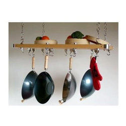 Taylor and Ng - Track Rectangular Ceiling Pot Rack - Optional eight hanging links. Hanging. Made from wood, steel and cast aluminum. Rectangular shape. Natural finish. Distance from ceiling: 22 in.. Hanging link: 1.13 in. L x 0.19 in. W x 3 in. H (0.38 lbs.). Overall: 39.25 in. L x 20.38 in. W x 1.50 in. H (16 lbs.). Includes mounting hardware, instructions booklet, four wood bars, one grid storage shelf, thirty two 3 in. hanging links, twelve pan hooks, four ceiling mounting, eight swivel and four eye hooks. Assembly required. Made in Taiwan. One grid storage shelf with four J clips and L connectors. Eye hooks mounts directly to ceiling wood joistMaximize your ceiling space to store all of your pots and pans. Steel Hanging Links to extend your pot rack from the ceiling and to adjust height of the preassembled potrack.