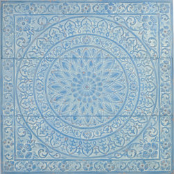 """Enchante Accessories Inc - Metal Wall Decor / Wall Hangings / Wall Accents 36 in. x 36 in., Light Blue - Stamped metal decorative wall accent. Antique design that can be mounted together to create a large wall displayOrnate pattern with a distressed finish to give it a shabby chic look. Perfect for use in any room of the houseMeasures 36.2"""" x 1.2"""" x 36.2""""Add texture and interest to any interior space with this decorative metal wall tile from the Home Office Collection. The Metal Wall D""""cor / Wall Hangings / Wall Accents 36 in. x 36 in. is made from stamped metal and features a large square shape with an ornate pattern that adds instant personality to any room. The tile features a floral stamped border, a large round medallion accent in the center, and scrolled accents that combine geometric shapes with soft edges to give it an old world, antiqued look. The metal finish is distressed and weathered to make it look as though it has been repurposed from a vintage home or an ancient building in a distant land. Reminiscent of old fashioned tin ceiling tiles, this decorative wall hanging has a versatile look that makes it easy to add color, texture, and flair to any room. Hang one in place of a picture frame on an accent wall or in a small space that needs a decorative element. Hang two or more together to create an even more interesting display and cover more surface area. For a truly spectacular look, hang multiple tiles side by side to cover an entire wall with texture, color, and beauty. With a mesmerizing pattern and a blend of purposefully faded, vintage inspired colors, one or more of these wall tiles will surely become a conversation piece and a source of unexpected beauty in your home. Choose from a range of antiqued color combinations including dark blue, grey, and light blue. All of the colors have been gently distressed to allow a neutral color to come through the weathered finish. Easy to hang and install, these metal wall accents add a one-of-a-kind touch of """