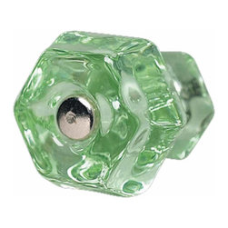 Renovators Supply - Cabinet Knobs Green Glass Cabinet Knob 1-1/4'' Dia | 11028 - Green Glass Knobs. Green Depression Glass cabinet knob includes chrome screw. Measures 1 1/4 inch diameter knob- sold individually.