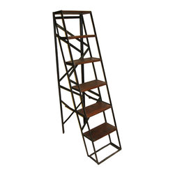 Kathy Kuo Home - Bambrook Industrial Rustic Vintage Steel Display Ladder - Tropical hardwood and iron come together to make this beautiful platform display ladder for your urban living spaces. If you live in a loft, you'll love using the iron back and wooden shelves to divide a room while displaying your favorite books, artwork, photos and plants.