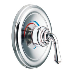 """Moen - Moen T3132 Chrome Moentrol Valve Trim, 1-Handle 2-Function Balancing Cartridge - Moen T3132 is part of the Monticello bath collection. Moen T3132 is a new bathroom decor style by Moen. Moen T3132 has a Chrome finish. Moen T3132 Moentrol valve only trim fits any MPact common valve system or MPact Moentrol 1/2"""" Valve. Valve sold separately. Moen T3132 is part of the Monticello bath collection with its simple beauty and elegant lines this collection brings a timeless design into any homes decor. Moen T3132 valve trim includes dual-function pressure balancing Cartridge. Moen T3132 is a single handle valve trim only, the handle adjusts temperature and volume. Moen T3132 valve only single handle trim provides for ease of operation. Moen T3132 Moentrol pressure balancing valve maintains water pressure and controls temperature. Moen T3132 is approved by ADA. Chrome is a proven finish from Moen and provides style and durability. Moen T3132 metal lever handle meets all requirements ofADA ICC/ANSI A117.1 and CSA to meet CSA B-125, ASME A112.18.1M. Lifetime Limited Warranty."""
