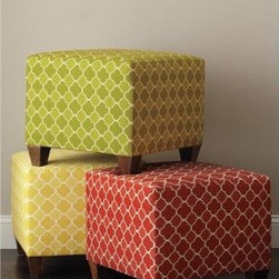 Beaton Cube Ottoman - Garnet Hill - These happy ottomans add a bit pop of color in a graphic quatrefoil print. Save money on pair and use them as coffee tables, or keep them as fun seats in a child's bedroom or playroom.