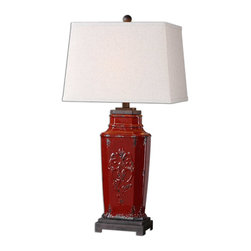 Uttermost - Centralia Red Lamp - Since lamps are the jewelry of a room, you will definitely want this gorgeous lamp in your jewelry box of a living room. The deep red glaze adds a bold color and creates a perfect ambience for either a contemporary or traditional decor. It will bring a touch of the Orient into your design style.