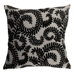 Pillow Decor - Pillow Decor - Brackendale Ferns Black Throw Pillow - Made from a beautiful and hard wearing upholstery fabric, this throw pillow features a stylized swirling leaf pattern. Suitable for contemporary or traditional decor schemes, you will love the fabric quality. The background of the pillow is a simple tight weave in black and light gray. The leaves are in a soft black chenille that contrasts beautifully against the texture of the background fabric.