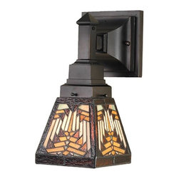Meyda Tiffany - Nuevo Mission Wall Sconce - Requires one medium type 60 watt bulb. Mission southwest theme. Warm earth toned bone beige and moccasin tan stained glass. Accented with glistening root brown and sage green. Handcrafted with the copper foil technique. Baf hag 59rf xag finish. 5 in. W x 6.5 in. D x 11.5 in. H. Instructions Manual. Care InstructionsMission style hardware in a hand applied mahogany bronze finish supports the handsome square shade inspired by native American artwork. This wall sconce is a true masterpiece.