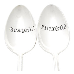 "Milk & HoneyLuxuries - 'Grateful' and 'Thankful' Hand-Stamped Servers - Hand stamped vintage silverplate serving spoons with the words ""Grateful"" and ""Thankful"".  Due to the vintage nature of these spoons, the pattern may vary for each piece and is to be expected."