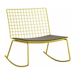 """Hatfield Grellow Rocker - This happy yellow rocker is very Grandma meets Bertoia. The bright color and fun modern lines will amp up the style of any room in your home. Steel wire grid with hi-gloss green-yellow powdercoat finishGrey acrylic cushion with hidden fabric tab fastenersProtective floor pads are recommended25.5""""Wx28""""Dx28.5""""H (14""""H seat)"""